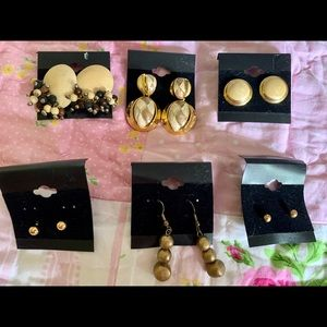 6 Pairs Gold Earrings